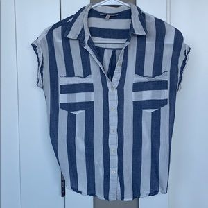 {Lucky Brand} Blue and white striped collared top